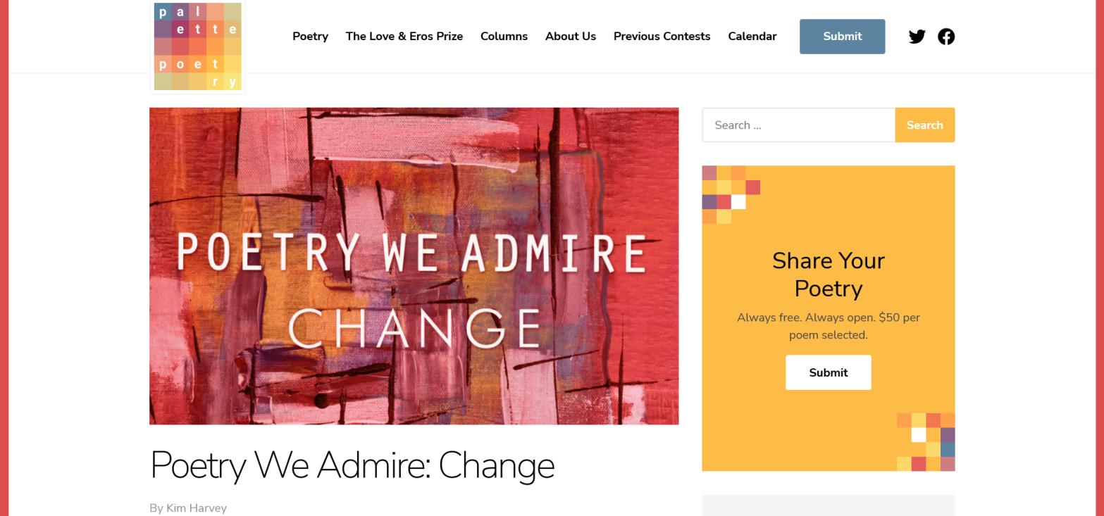 Screenshot of Palette Poetry website